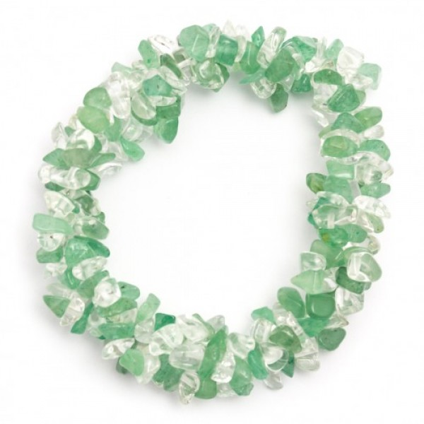 Chunky Elasticated Crystal Chip Bracelet - Green Aventurine & Clear Quartz