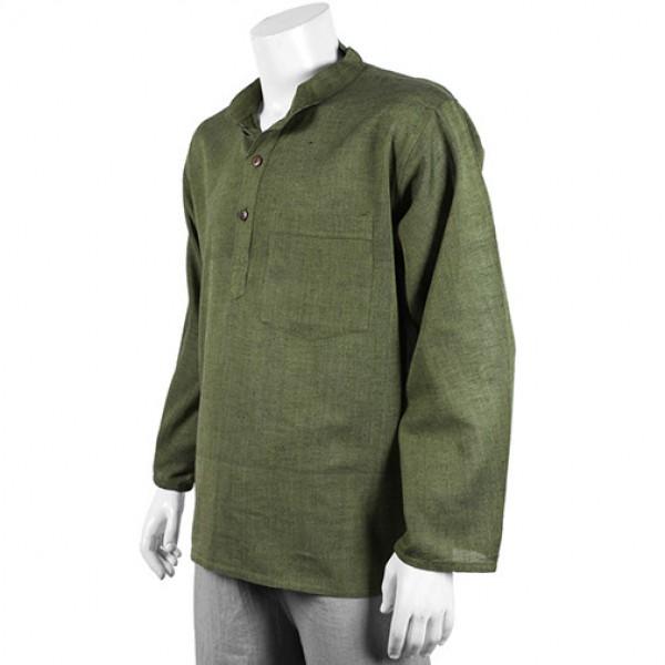 Nepalese Granddad Kurta Shirt - Plain Green